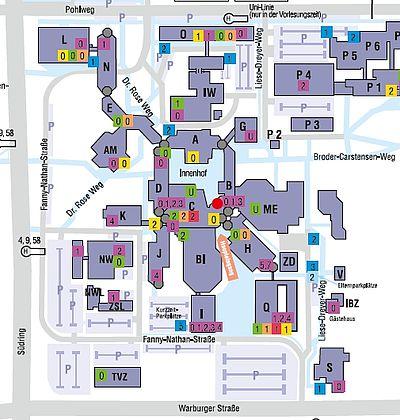 Abbildung: Lageplan der Universität Paderborn (Ausschnitt)