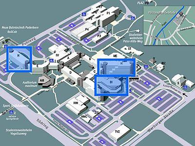 Abbildung: Lageplan der Universität Paderborn